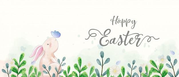 Pintura em aquarela de banner do dia de páscoa. os coelhos interagem com a borboleta no jardim.
