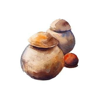 Pintura em aquarela de cerâmica de solo
