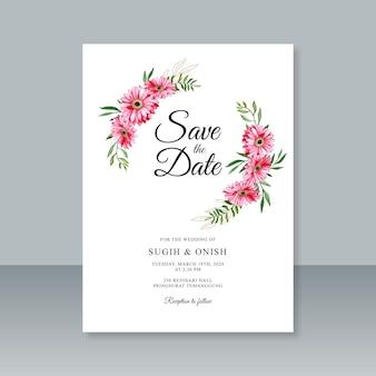 Pintura em aquarela de flores para modelo de cartão de casamento