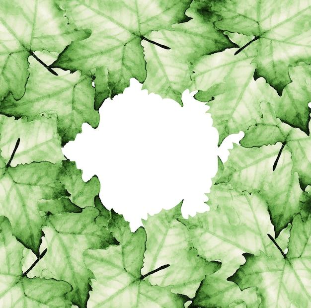 Pintura em aquarela de folhas de bordo com espaço de cópia