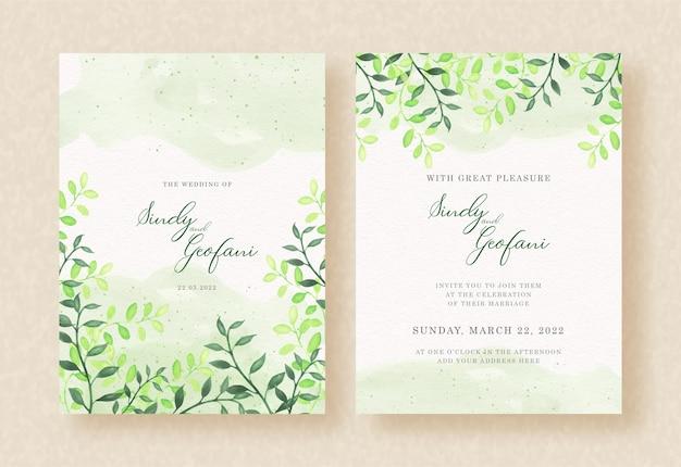 Pintura em aquarela de folhas verdes no design de convite de casamento