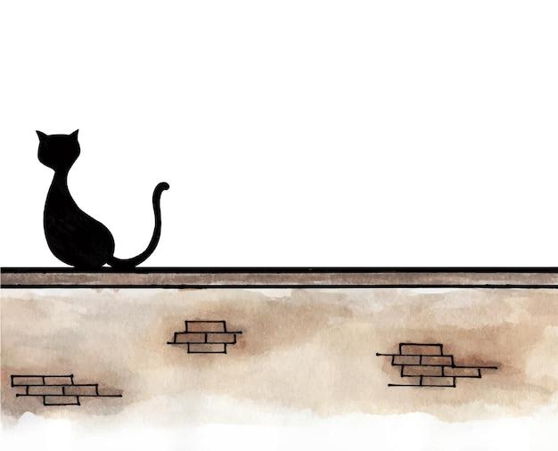 Pintura em aquarela de gato preto sentado na parede.