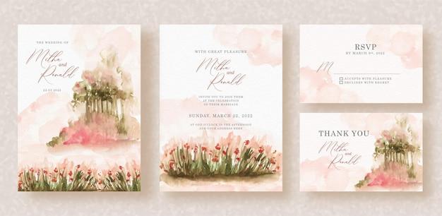 Pintura em aquarela de jardim floral no fundo do convite de casamento