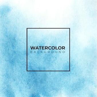 Pintura em aquarela de mão abstrata azul. cor espirrando no papel branco