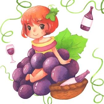 Pintura em aquarela de menina uva
