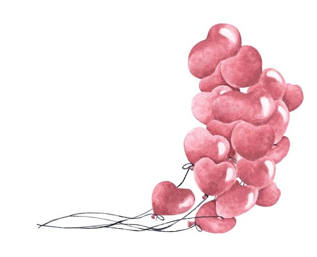 Pintura em aquarela de um monte de balões em forma de coração