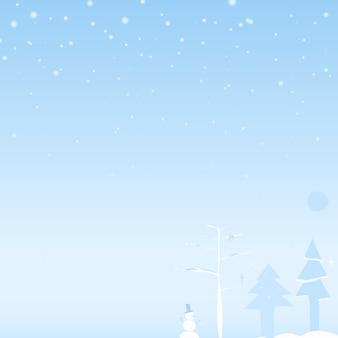 Pintura em aquarela de uma cena de neve com árvore de natal e homem da neve, copyspace