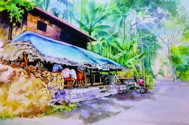 Pintura em aquarela de uma ilustração desenhada à mão de uma casa