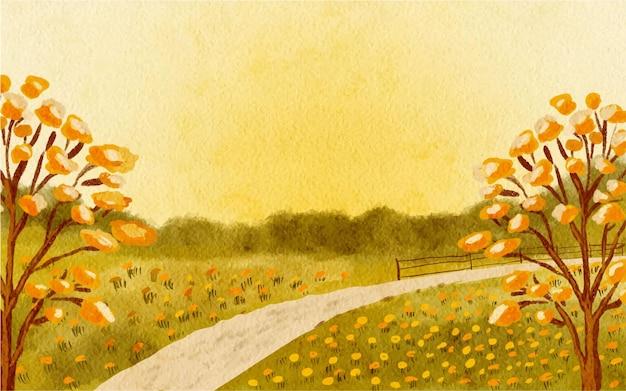 Pintura em aquarela desenhada à mão de árvore e fundo de paisagem de flores