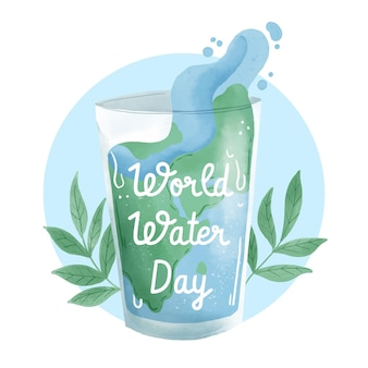 Pintura em aquarela do dia mundial da água