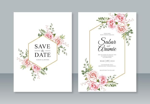 Pintura em aquarela floral e moldura geométrica para modelo de convite de casamento
