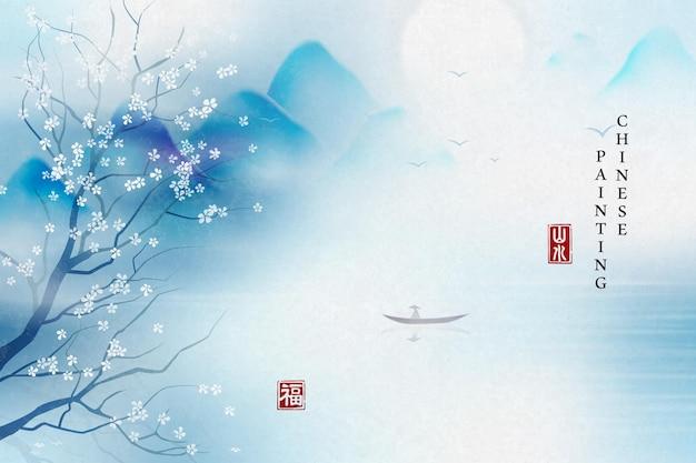 Pintura em tinta chinesa com fundo elegante paisagem