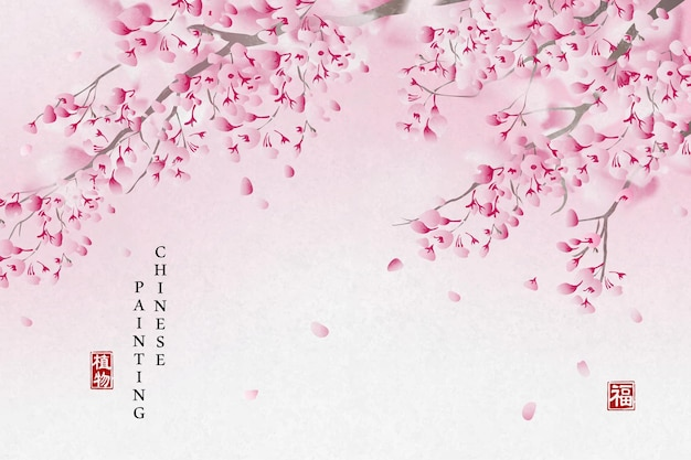 Pintura em tinta chinesa fundo de arte planta elegante flor rosa flor ramo de árvore