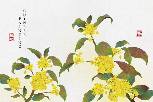 Pintura em tinta chinesa fundo planta flor elegante