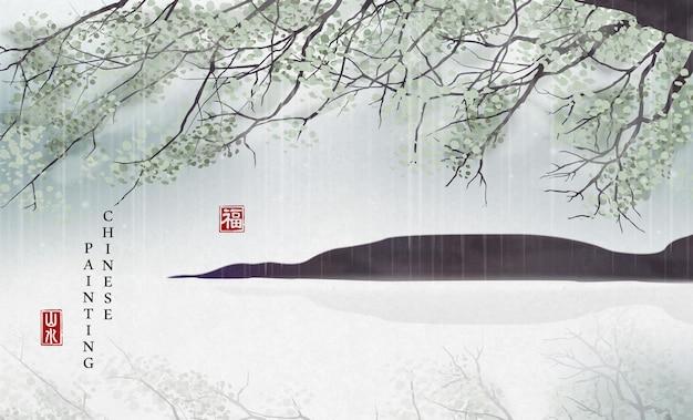 Pintura em tinta chinesa fundo planta paisagem elegante