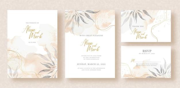 Pintura floral com respingos de aquarela no design de convite de casamento