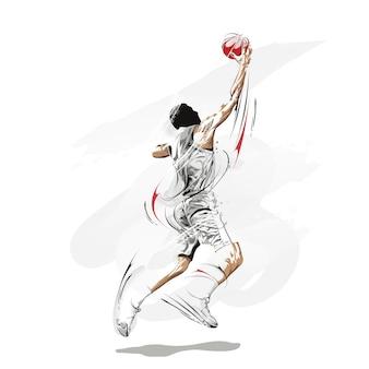 Pintura grunge de jogador de basquete