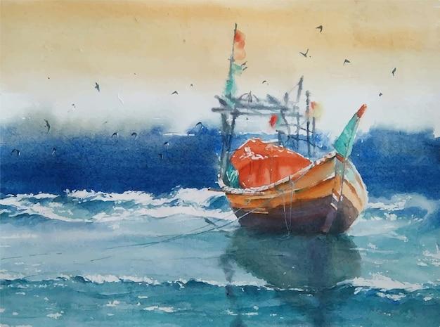 Pinturas em aquarela, navios na paisagem do mar