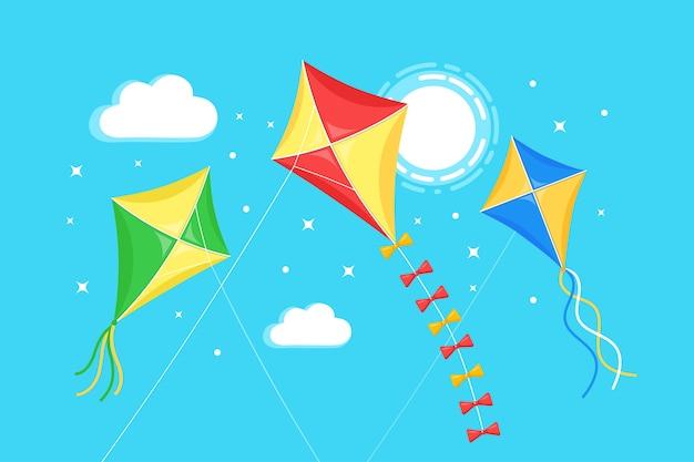 Pipa colorida voando no céu azul, sol no fundo. verão, férias de primavera, brinquedo para criança.