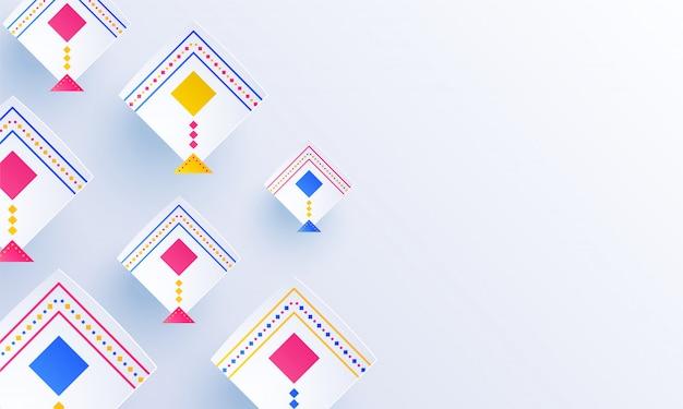 Pipas coloridas decoradas em fundo branco brilhante