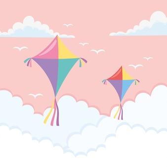 Pipas voando pelas nuvens