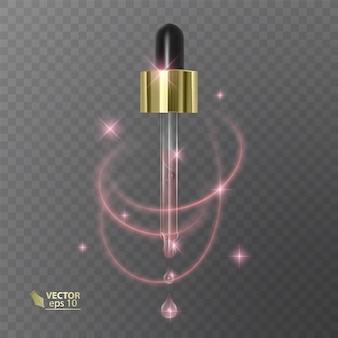 Pipeta realista nos produtos cosméticos de modelo transparentes com líquido.
