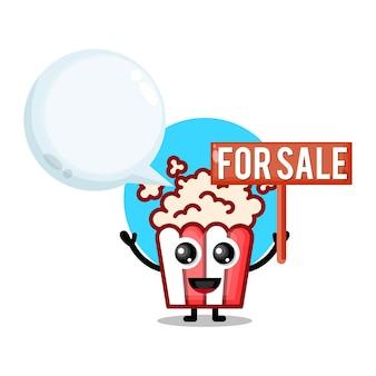 Pipoca à venda mascote de personagem fofa