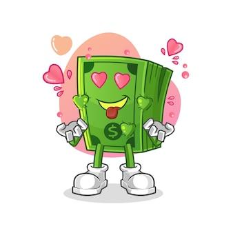 Pipoca apaixonando-se. personagem de desenho animado