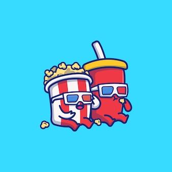 Pipoca bonito com refrigerante dos desenhos animados icon ilustração. conceito de ícone de comida e bebida isolado. estilo cartoon plana