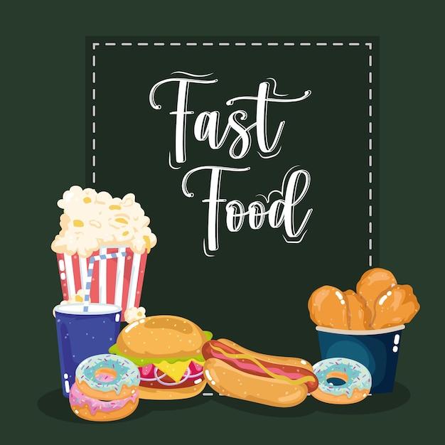 Pipoca cachorro-quente com letras de fast food