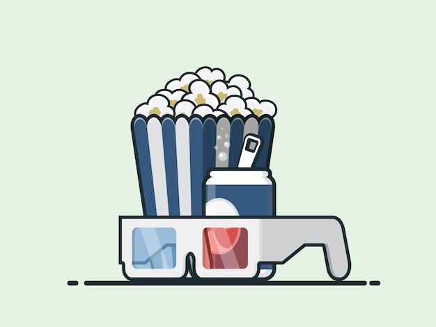 Pipoca, coca-cola e copos. cinema.