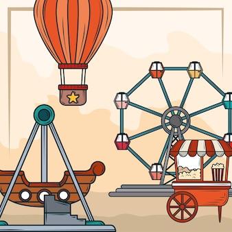 Pipoca de parque de diversões e roda gigante