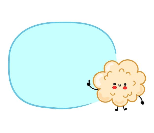 Pipoca engraçada feliz fofa com caixa de discurso. vetorial mão desenhada cartoon kawaii personagem ilustração etiqueta logo ícone. isolado em um fundo branco. conceito de personagem de desenho animado de pipoca fofa e feliz