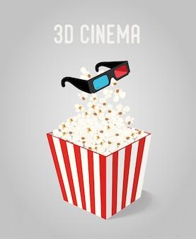 Pipoca na caixa com óculos 3d para cinema