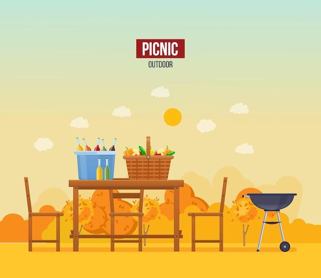 Piquenique ao ar livre de outono. cesta de móveis de madeira cheia de bebidas alimentares no cenário de outono com inscrição. churrasco de culinária saudável no jardim da floresta com lugar para texto. vetor plano de lazer sazonal da natureza