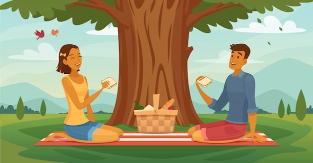 Piquenique ao ar livre tarde ensolarada juntos cartaz retrô dos desenhos animados