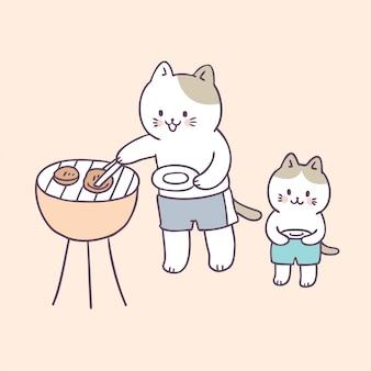 Piquenique bonito dos gatos da família do verão dos desenhos animados