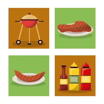 Piquenique com churrasqueira e salsicha e carne e conjunto de garrafas