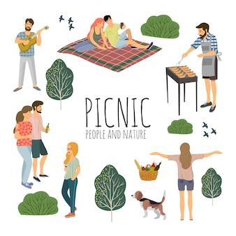 Piquenique. conjunto de pessoas ativas de fim de semana com um churrasco