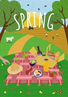Piquenique da primavera no sol nascente, natureza, gramado, colinas e árvores, vacas pastam e andorinhas voam campanha de semeadura
