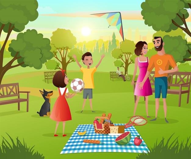 Piquenique de família feliz no vetor de desenhos animados do parque da cidade