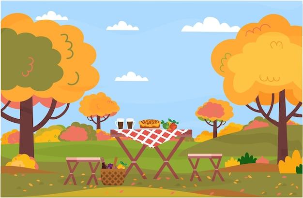 Piquenique de outono descanse em um parque florestal ao ar livre.