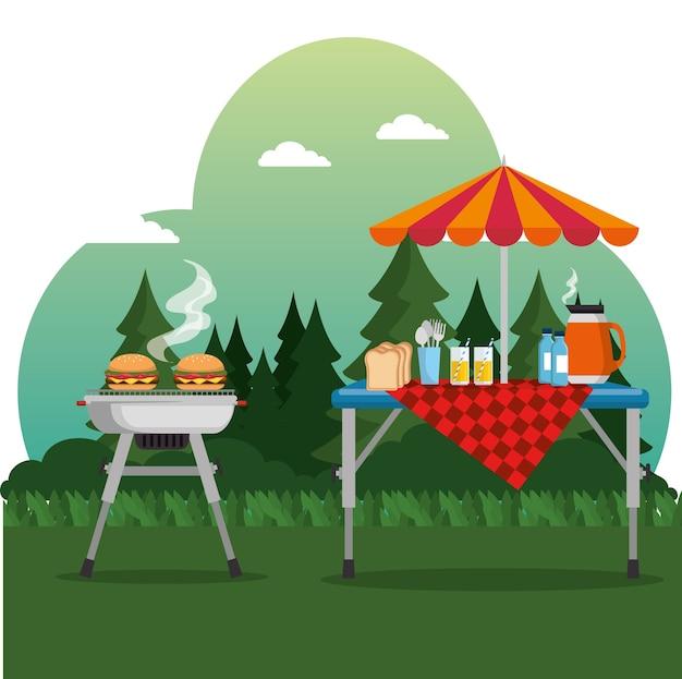 Piquenique de verão churrasco ao ar livre