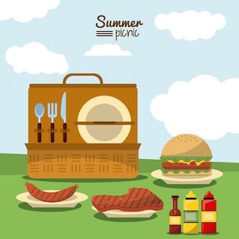 Piquenique de verão com cesto com conjunto de talheres e carne