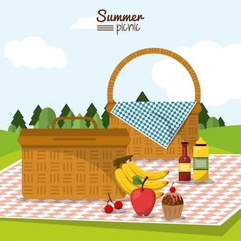 Piquenique de verão com duas cestas de piquenique em toalha de mesa