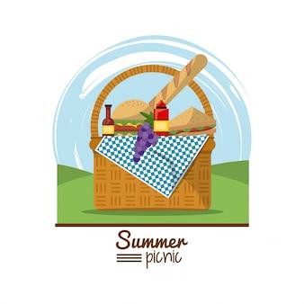 Piquenique de verão com paisagem e cesta de piquenique cheio de comida