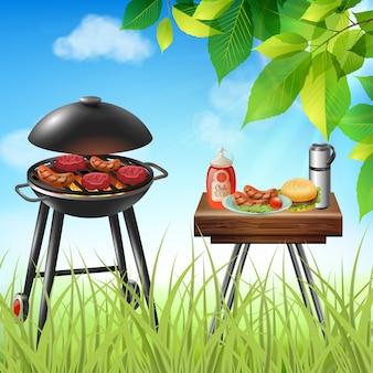 Piquenique de verão com salsichas e hambúrgueres cozinhando na ilustração realista de grelha