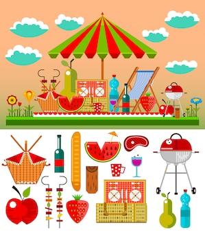 Piquenique de verão na ilustração do prado