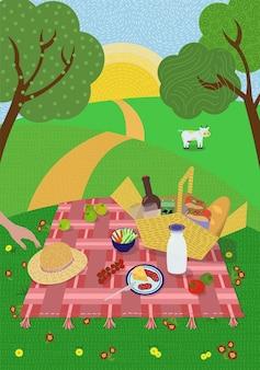 Piquenique de verão na natureza do sol poente. gramado, colinas e árvores, pasto de pastagem de vaca. manta com cesta de comida e bebida. fofo manuscrito verão fim de semana resto ilustração vetorial eps pôster