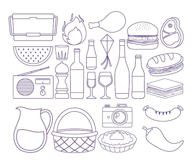 Piquenique de verão relacionados com ícones sobre fundo branco, ilustração vetorial